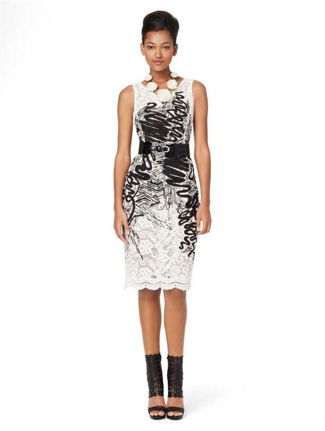 High Fashion Sleeveless Chalk Print Slim Dress