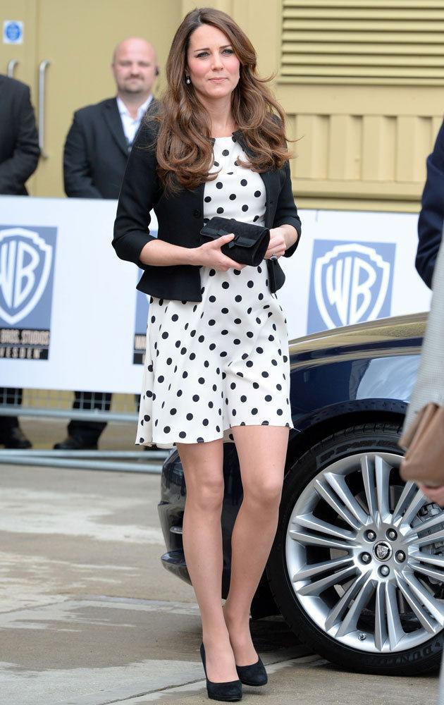 Kate Middleton in polka dot baby bump