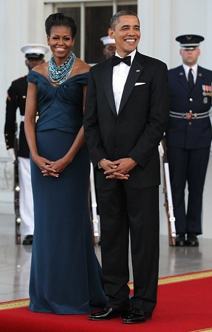 Michelle Obama State Dinner Marchesa