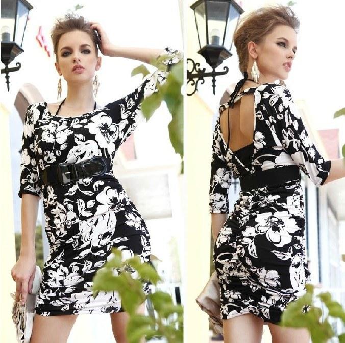 Shortsleeved Mini Printed Dress