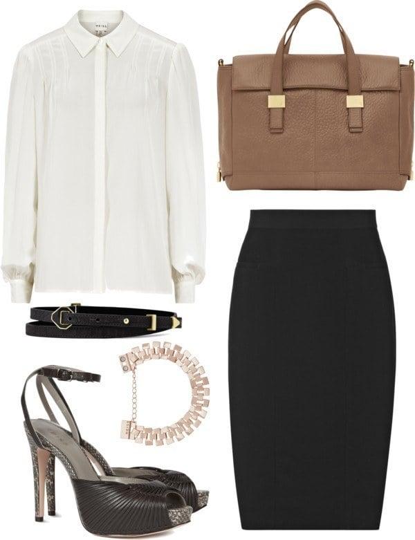 White shirt black skirt for Corporate Wardrobe Essentials