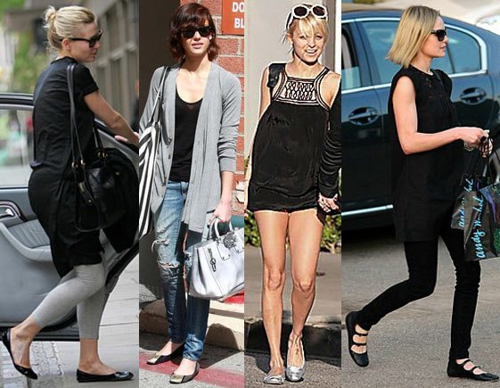 celebrities wearing ballet flat shoes