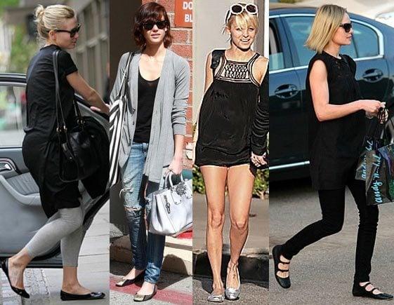 celebrities wearing ballet flat shoes