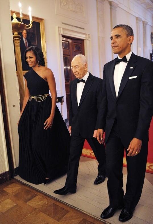 michelle obama black Michael Kors one-shoulder gown