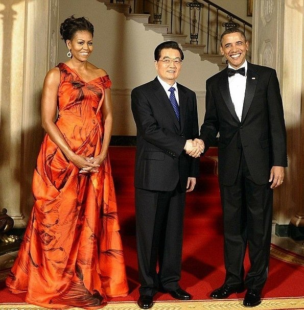 Michelle Obama In Sarah Burton Gown