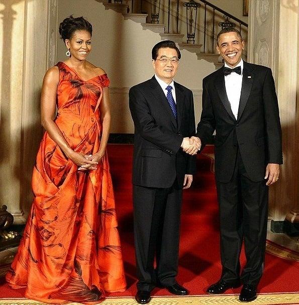 Michelle Obama In Sarah Burton Gown