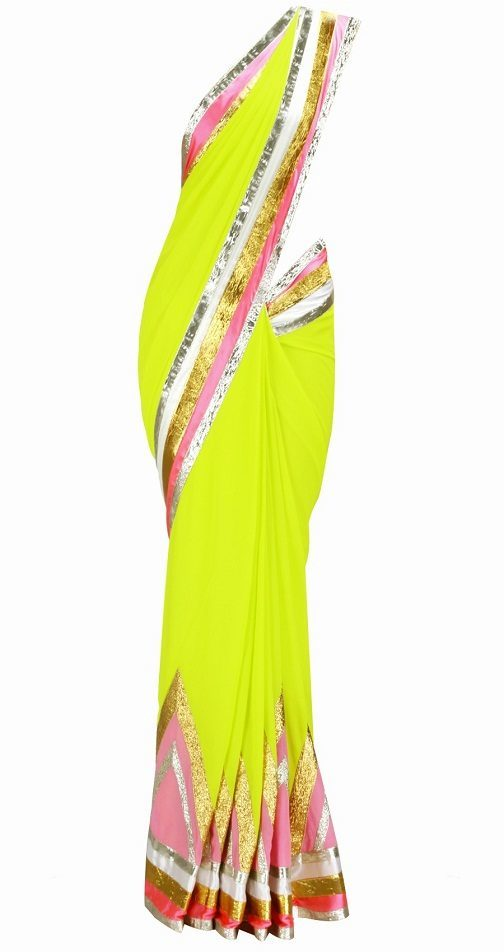 Abu Jani Mango yellow and pink sari with off white