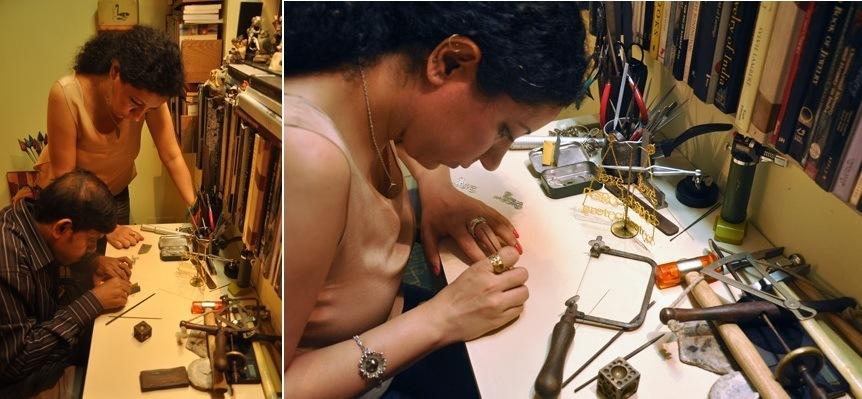 Eina Ahluwalia jewelry designer at her workstation