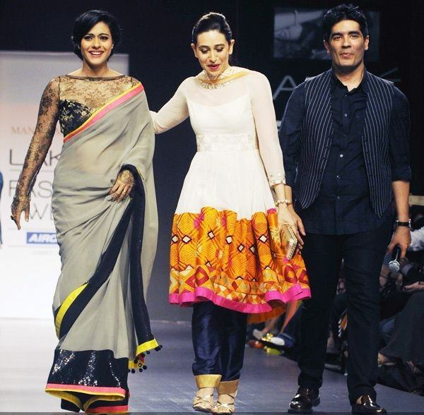 Kajol and Karisma Kapur walk the ramp with fashion designer Manish Malhotra
