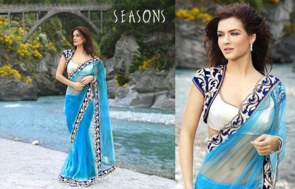 Blue Saree Blouse Design
