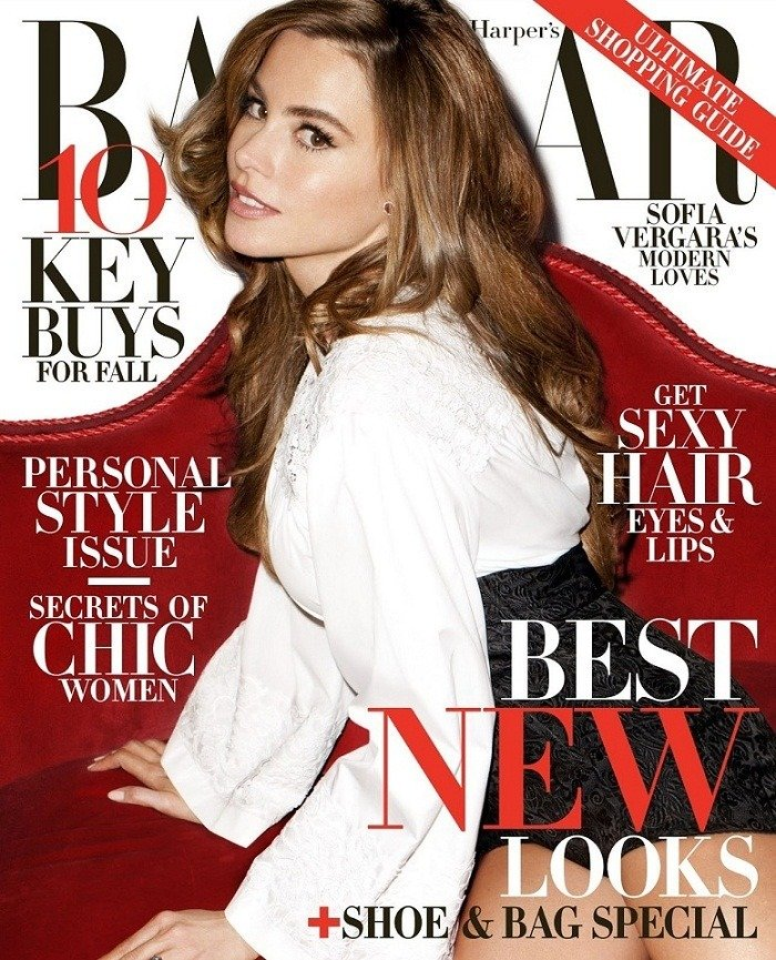 Sofia Vergara on Cover for Harper's Bazaar US August 2013
