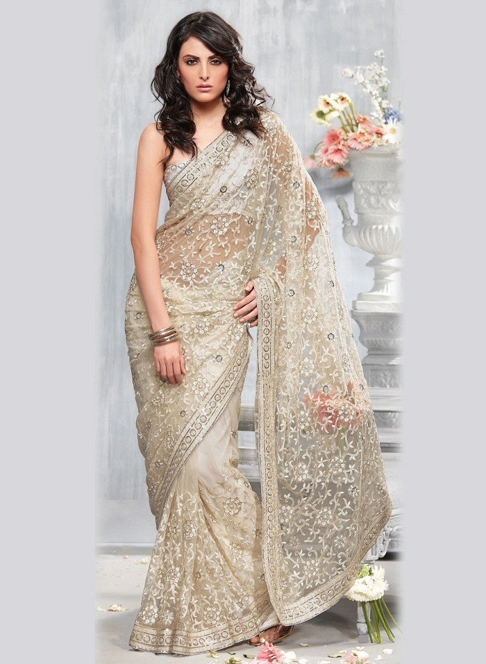 off white net saree with sequins