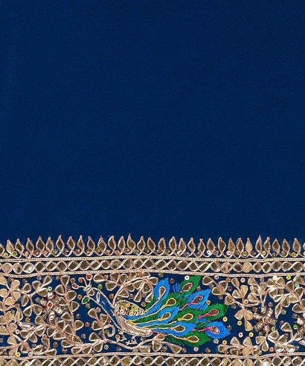 peacock motif saree brocade
