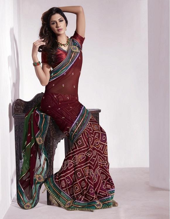 Bandhani Crepe Silk Sari