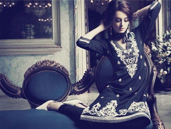 Biba Black and White Salwar Suit