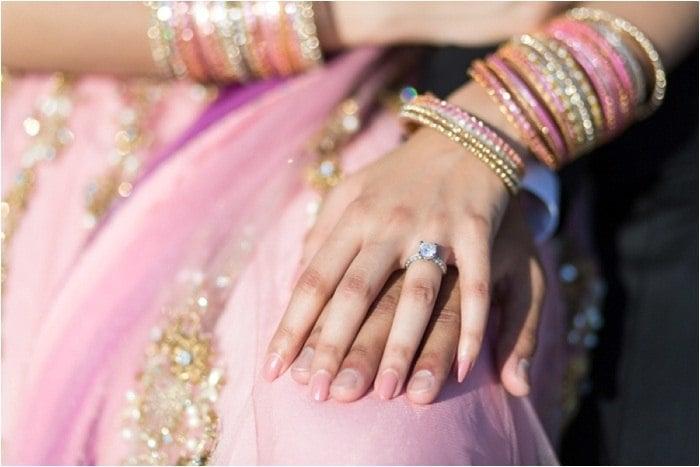 Indian engagement ceremony diamond ring