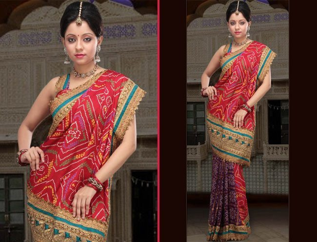 Violet and Red Faux Crepe Saree