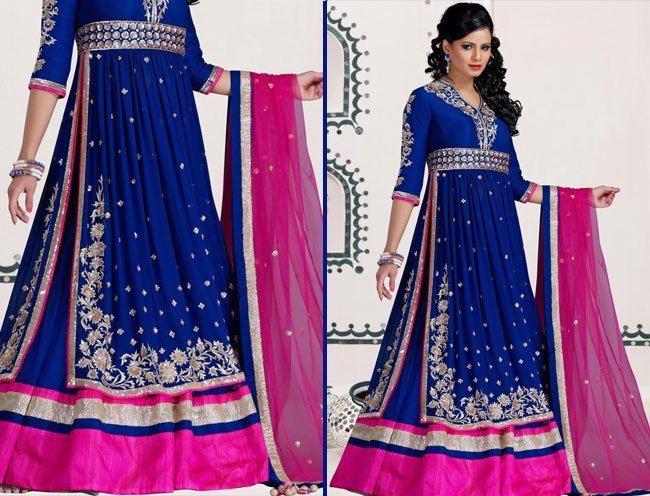 Blue Net Readymade Lehenga Choli