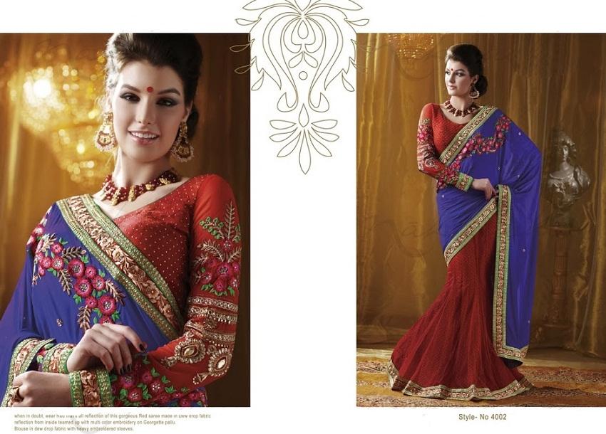 Bridal orange designer half saree diwali collections
