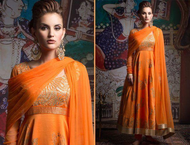 Embroidered Orange Anarkali Suit