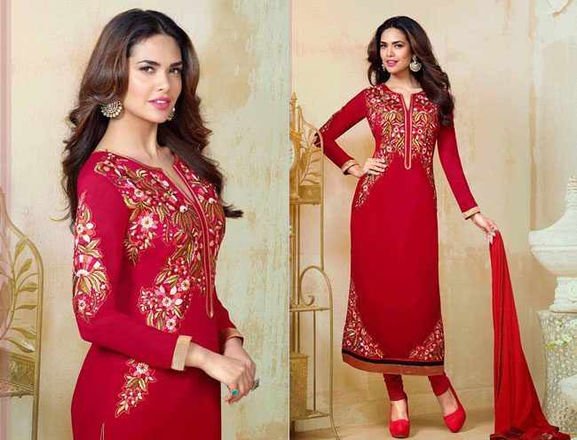 Esha Gupta Straight Cut Salwar Suit