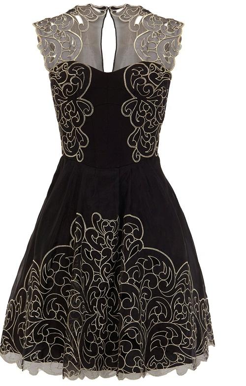 Karen Millen Black Baroque Cutwork Lace Tutu Dress