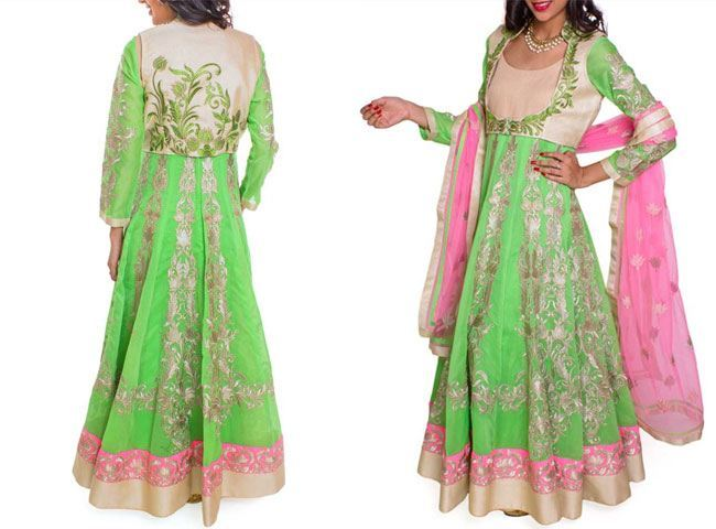 Neon Green Jacket Anarkali
