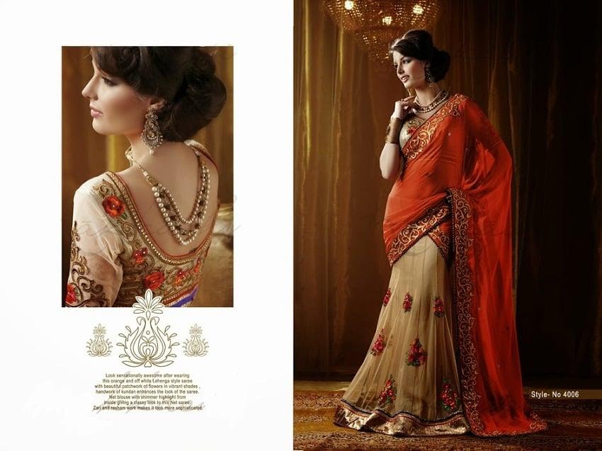 Orange designer half saree diwali collection