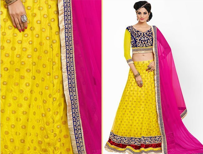 Prafful Yellow Embellished Lehnga Saree