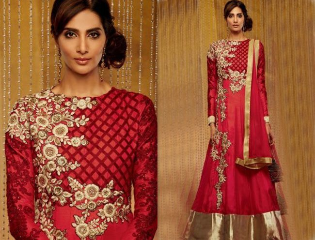 Red Color Embroidered Semi Stitched Designer Suit