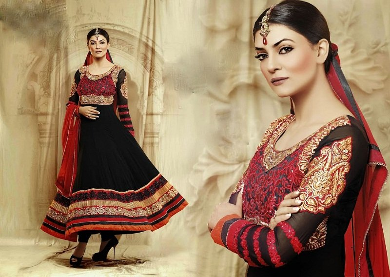 Sushmita Sen black and red floor length anarkali