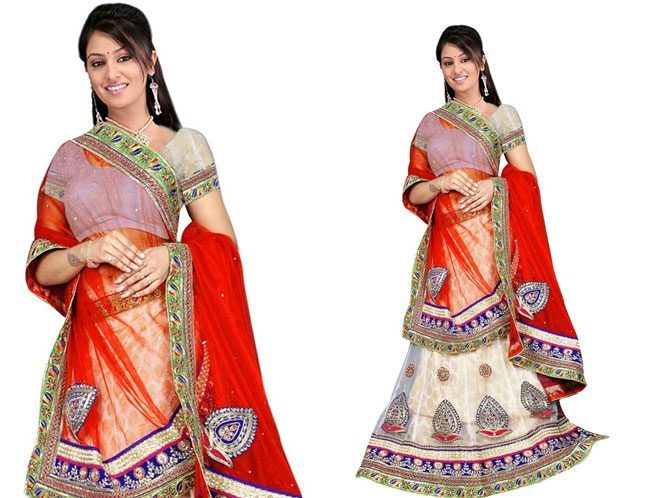 White Red Embroidered Net Lehenga And Choli