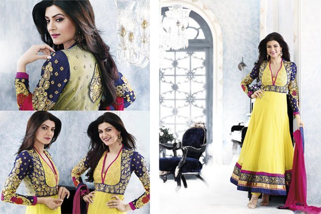 Yellow Blue Rani Anarkali