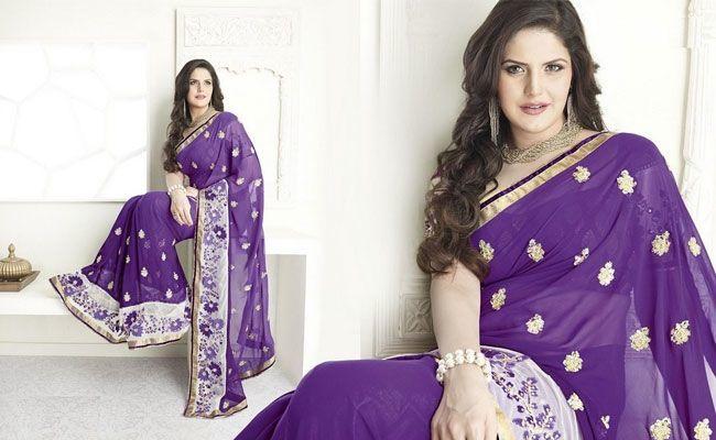 Zarine Khan Style Purple Saree
