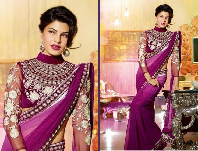 adorable purple resham work faux