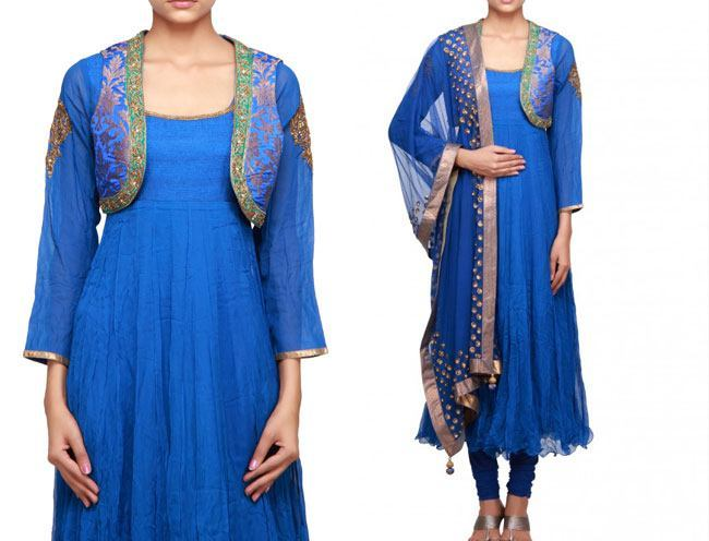 blue anarkali suit enhanced