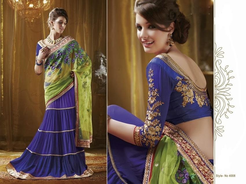 blue neon green half sari designer