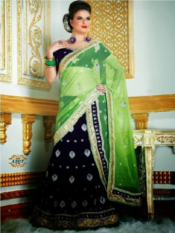 blue neon green lehenga with golden embroidery border
