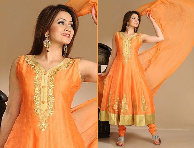 brilliant orange anarkali suit