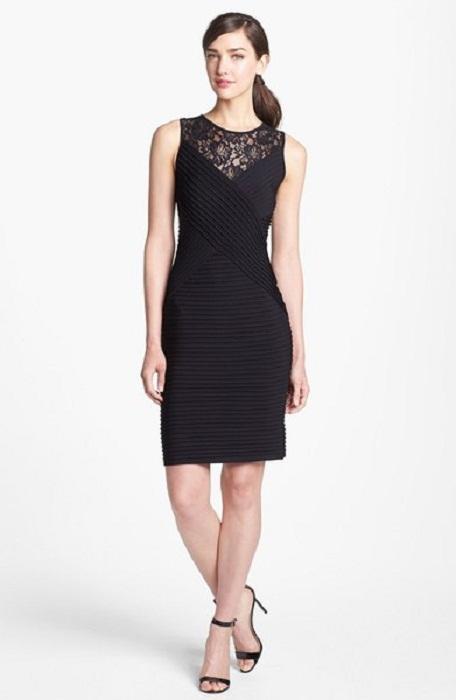 calvin klein black lace sheath dress