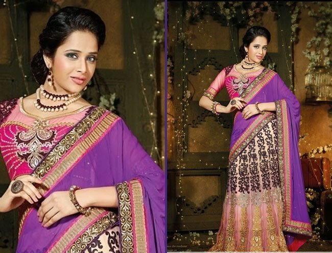 dazzling purple net satin lehenga