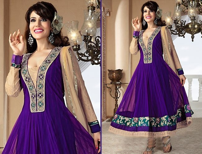 dazzling purple zardosi and resham work net