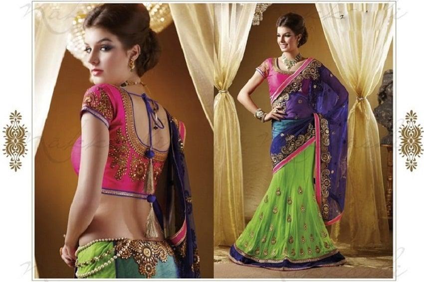 designer half saree diwali collections