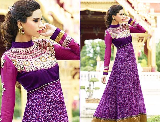 desirable purple embroidery work georgette