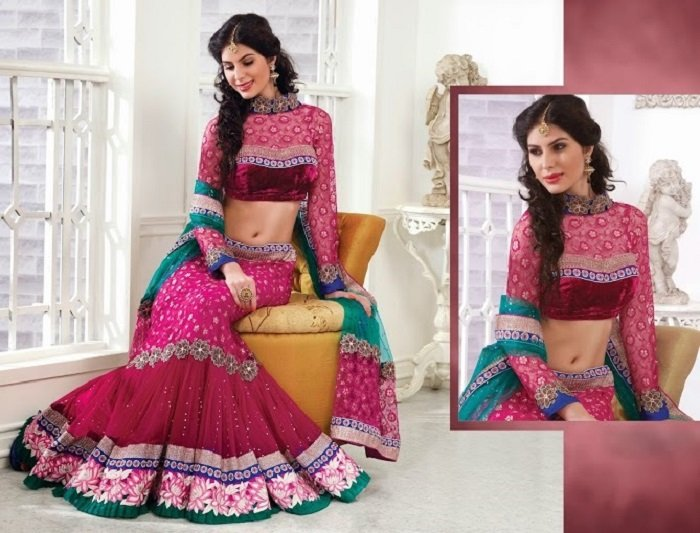 embroidered pink lehenga gota work