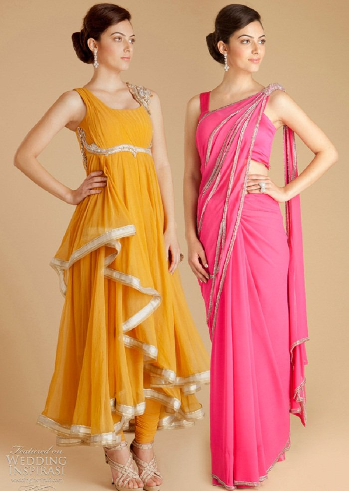 fusion wear suits for durga puja