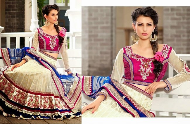 gorgeous white and pink lehenga