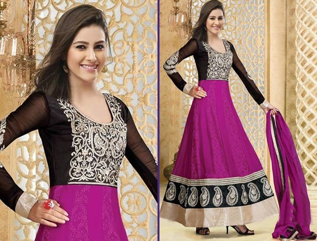 graceful purple patch border work anarkali