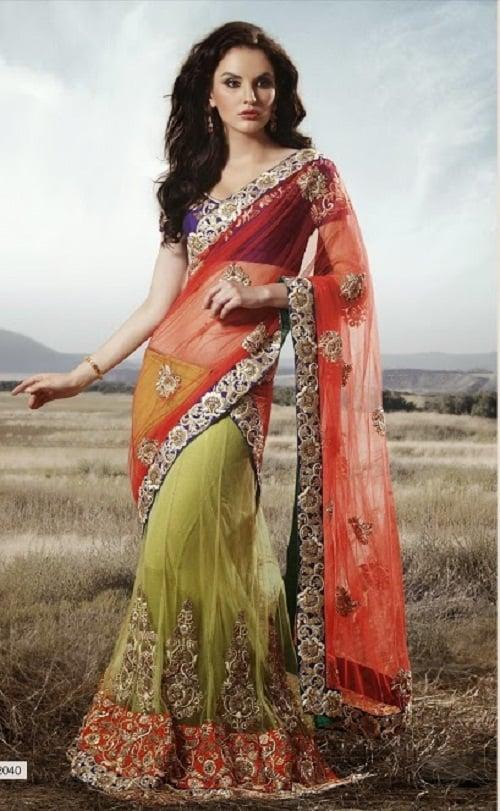 green red half sari