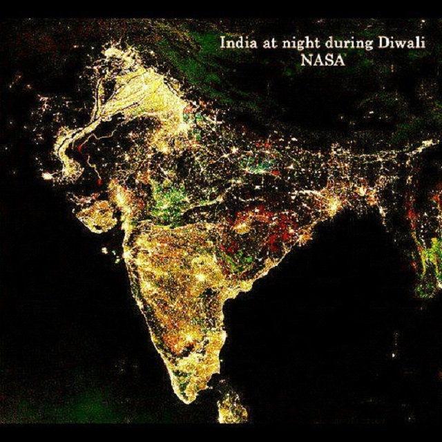 india diwali satellite from space